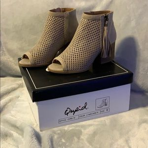 Qupid Light Taupe Suede Booties